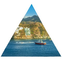 Taganga Bay Landscape, Colombia Wooden Puzzle Triangle by dflcprintsclothing