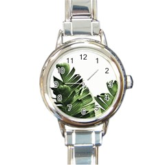 Green Banana Leaves Round Italian Charm Watch by goljakoff
