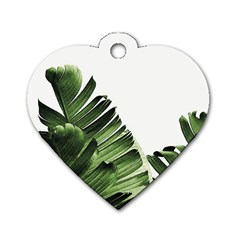 Green Banana Leaves Dog Tag Heart (two Sides) by goljakoff