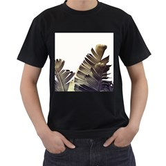 Vintage Banana Leaves Men s T-shirt (black) (two Sided) by goljakoff