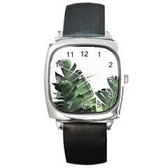 Banana Leaves Square Metal Watch by goljakoff