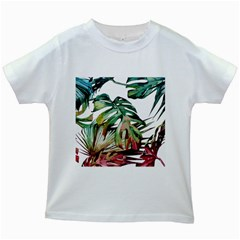 Watercolor Monstera Leaves Kids White T-shirts by goljakoff