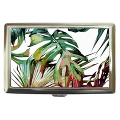 Watercolor Monstera Leaves Cigarette Money Case by goljakoff