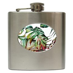 Watercolor Monstera Leaves Hip Flask (6 Oz) by goljakoff