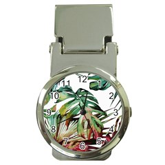 Watercolor Monstera Leaves Money Clip Watches by goljakoff