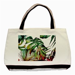 Watercolor Monstera Leaves Basic Tote Bag by goljakoff