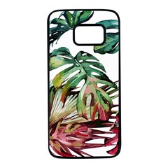 Watercolor Monstera Leaves Samsung Galaxy S7 Black Seamless Case