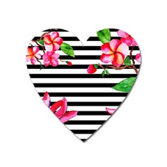 Black And White Stripes Heart Magnet by designsbymallika