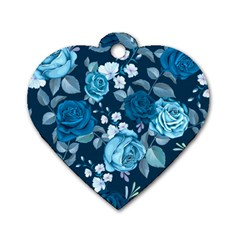 Blue Floral Print  Dog Tag Heart (two Sides)