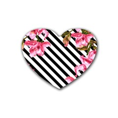 Pink Floral Stripes Heart Coaster (4 Pack)