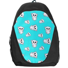 Azure Blue And Crazy Kitties Pattern, Cute Kittens, Cartoon Cats Theme Backpack Bag by Casemiro