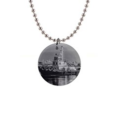 Tugboat At Port, Montevideo, Uruguay 1  Button Necklace by dflcprintsclothing