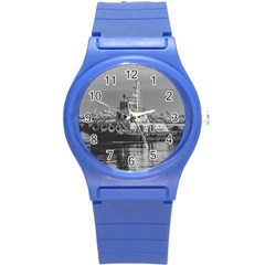 Tugboat At Port, Montevideo, Uruguay Round Plastic Sport Watch (s) by dflcprintsclothing
