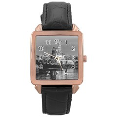 Tugboat At Port, Montevideo, Uruguay Rose Gold Leather Watch  by dflcprintsclothing