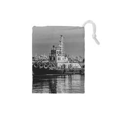 Tugboat At Port, Montevideo, Uruguay Drawstring Pouch (small) by dflcprintsclothing