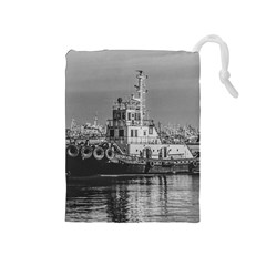 Tugboat At Port, Montevideo, Uruguay Drawstring Pouch (medium) by dflcprintsclothing