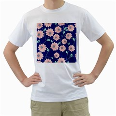 Floral Men s T-shirt (white) (two Sided)