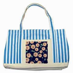 Floral Striped Blue Tote Bag by Sobalvarro