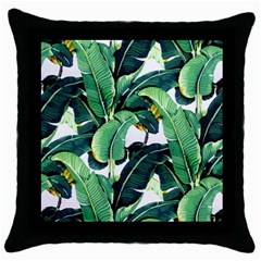 Tropical Banana Leaves Throw Pillow Case (black) by goljakoff