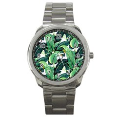 Tropical Banana Leaves Sport Metal Watch by goljakoff