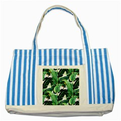 Tropical Banana Leaves Striped Blue Tote Bag by goljakoff