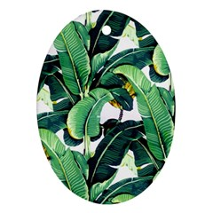 Tropical Banana Leaves Oval Ornament (two Sides) by goljakoff