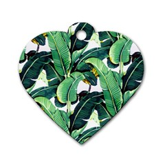 Tropical Banana Leaves Dog Tag Heart (one Side) by goljakoff