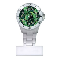 Night Tropical Banana Leaves Plastic Nurses Watch by goljakoff