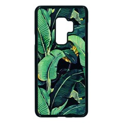 Night Tropical Banana Leaves Samsung Galaxy S9 Plus Seamless Case(black) by goljakoff