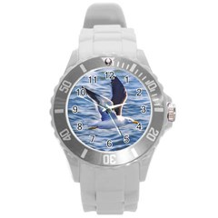 Seagull Flying Over Sea, Montevideo, Uruguay Round Plastic Sport Watch (l) by dflcprintsclothing