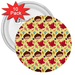 Cute Leaf Pattern 3  Buttons (10 Pack)