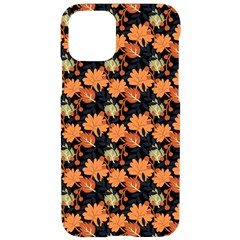 Black Orange Autumn Leaves Pattern Iphone 11 Pro Black Uv Print Case