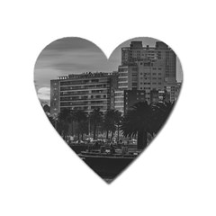 Sunset Coastal Urban Scene, Montevideo, Uruguay Heart Magnet by dflcprintsclothing