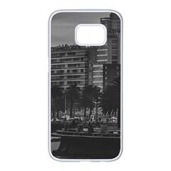 Sunset Coastal Urban Scene, Montevideo, Uruguay Samsung Galaxy S7 Edge White Seamless Case by dflcprintsclothing