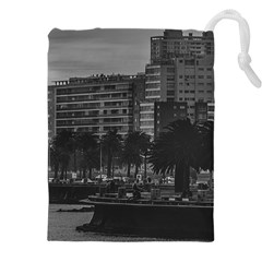 Sunset Coastal Urban Scene, Montevideo, Uruguay Drawstring Pouch (5xl) by dflcprintsclothing