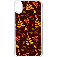 Yellow Green Orange Leaf Pattern Iphone X Seamless Case (white)