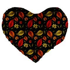 Golden Orange Leaves Large 19  Premium Heart Shape Cushions