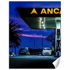 Night Scene Gas Station Building, Montevideo, Uruguay Canvas 18  X 24  by dflcprintsclothing