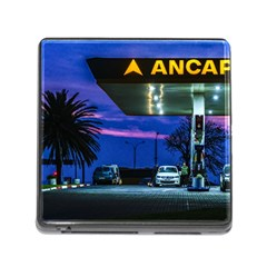 Night Scene Gas Station Building, Montevideo, Uruguay Memory Card Reader (square 5 Slot) by dflcprintsclothing