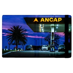 Night Scene Gas Station Building, Montevideo, Uruguay Apple Ipad 2 Flip Case by dflcprintsclothing