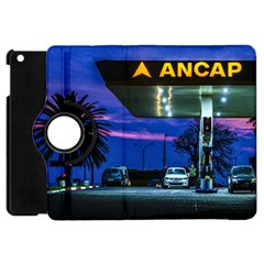 Night Scene Gas Station Building, Montevideo, Uruguay Apple Ipad Mini Flip 360 Case by dflcprintsclothing