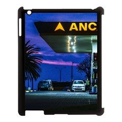 Night Scene Gas Station Building, Montevideo, Uruguay Apple Ipad 3/4 Case (black) by dflcprintsclothing