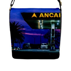Night Scene Gas Station Building, Montevideo, Uruguay Flap Closure Messenger Bag (l) by dflcprintsclothing