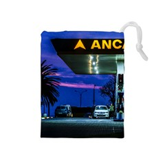 Night Scene Gas Station Building, Montevideo, Uruguay Drawstring Pouch (medium) by dflcprintsclothing