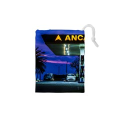 Night Scene Gas Station Building, Montevideo, Uruguay Drawstring Pouch (xs)