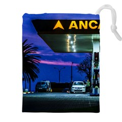 Night Scene Gas Station Building, Montevideo, Uruguay Drawstring Pouch (4xl) by dflcprintsclothing