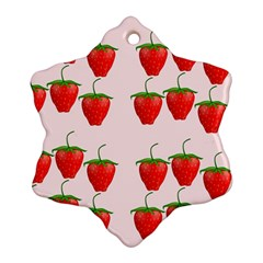 Red Strawberry Fruit Pattern Snowflake Ornament (two Sides) by Lotus