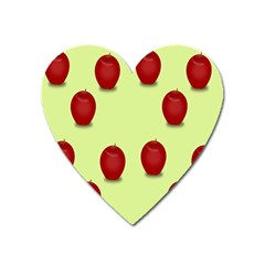 Red Apple Fruit Pattern Heart Magnet by Lotus