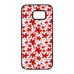 Red Flowers Samsung Galaxy S7 Edge Black Seamless Case