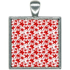 Red Flowers Square Necklace by CuteKingdom